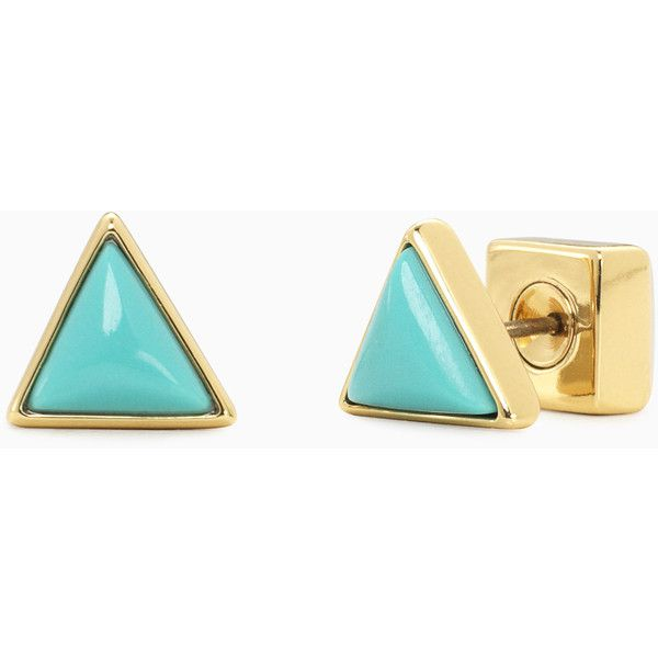 Stella & Dot Déjà Vu Stone Studs - Turquoise ($39) ❤ liked on Polyvore featuring jewelry, earrings, turquoise earrings, stone earrings, green turquoise jewelry, stella dot earrings and gold stud earrings