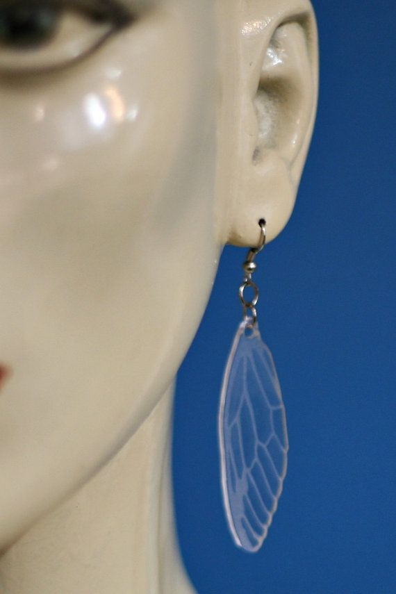 Clear Acrylic Laser Etched Cicada Wing by KillerQueenJewelry, $14.00