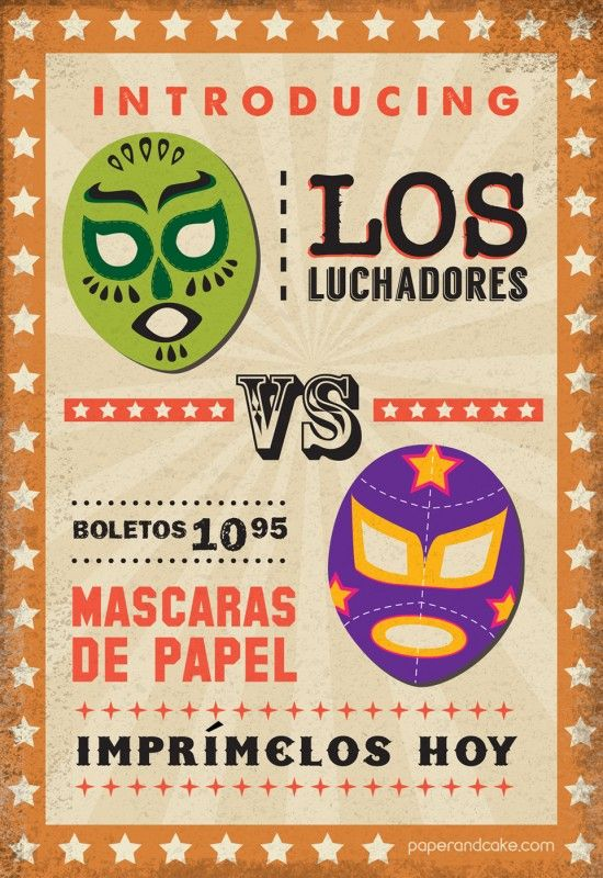 Paper and Cake | lucha libre masks: NEW Printable Photo Booth Props | available at Paper & Cake