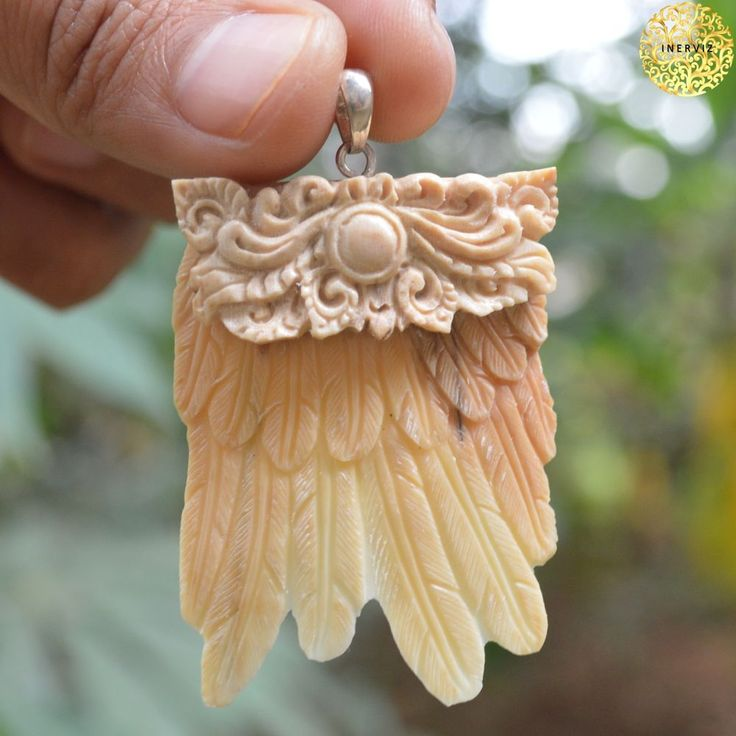 "2.4"" Hand Carved Tribal Wing 9gr Natural Fossil w 925 silver Bone Carving FM2149 #Handmade #Pendant"