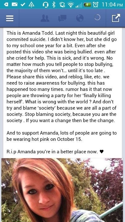 RIP Amanda Todd, you were too young and people are just cruel NO ONE deserves to be treated this way! Everyone makes mistakes in life, it does NOT give people the right to bully others! Before you judge someone, just make sure your perfect first..