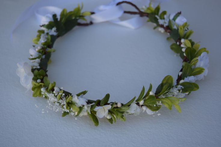 Boxwood Flower Crown - Bridal Hair Wreath - Greenery Crown - Photo Prop - Flower Girl Crown - Garden Wedding - White & Green Hair Wreath by BohoHaloCompany on Etsy https://www.etsy.com/listing/506018787/boxwood-flower-crown-bridal-hair-wreath