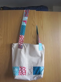 homemade tote bag, for a gift.  Tutorial on blog.