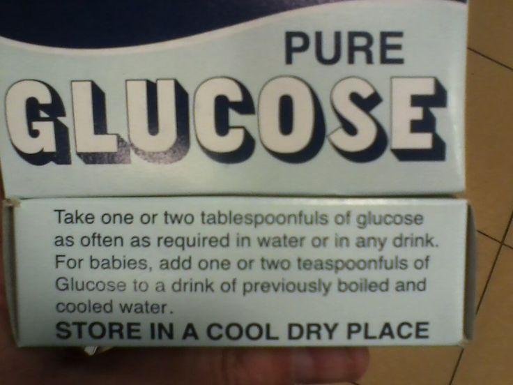 """Donnez à vous et votre bébé le diabète en ajoutant du glucose pur dans vos boissons ! traduction : """"Prenez 1 ou 2 cuillères à soupe de glucose aussi souvent que requis dans de l'eau ou autre boisson. Pour votre bébé, ajoutez 1 ou 2 cuillères à café de glucose dans une boisson..."""""""