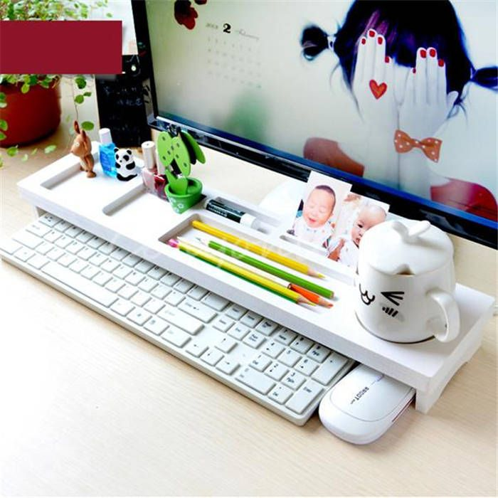 New White Wood Office Room Desktop PC Keyboard Storage Rack Shelf Wood Anti Dust Cover tidy stationery Sundries Pen Holder