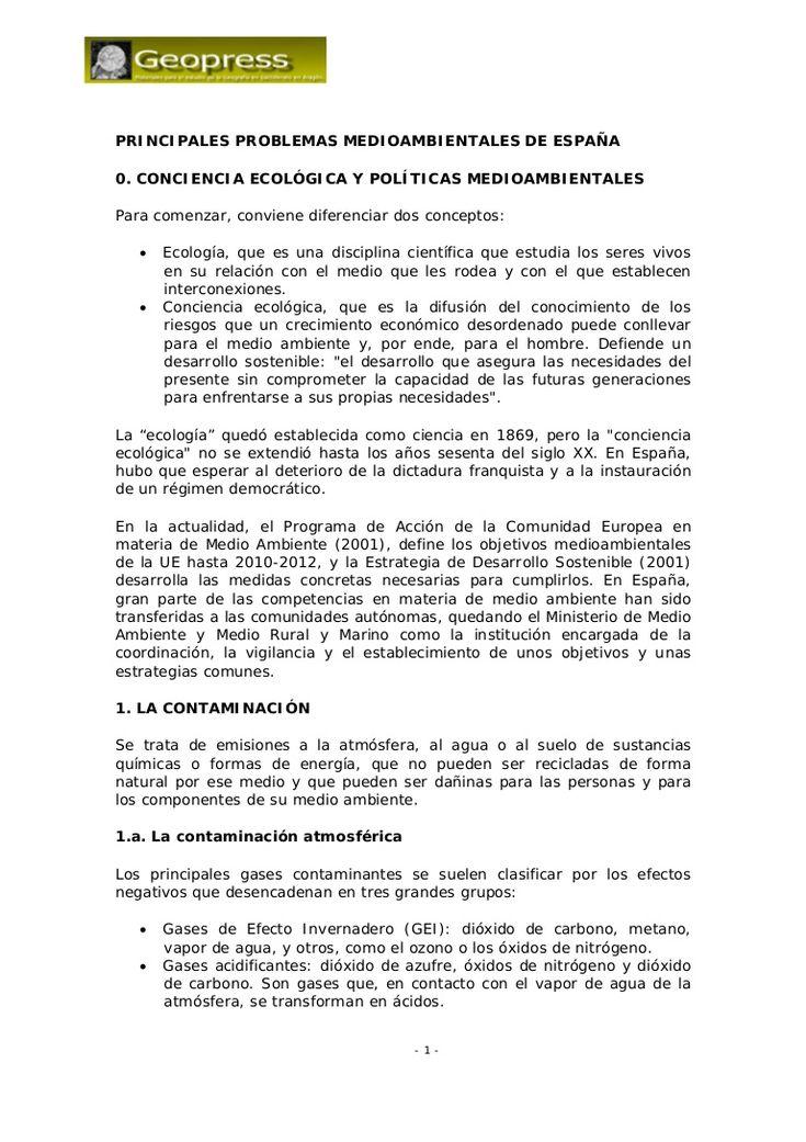 Análisis de los principales problemas medioambientales en España, de sus orígenes y de las políticas que se toman para evitarlos o paliarlos.