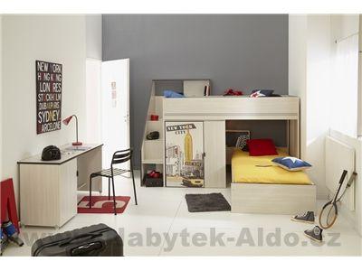 Patrová postel-dětský pokoj Gravity 2347LISU-AR1P-BURE