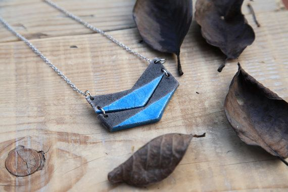chevron necklace ceramic pendant minimal jewelry by BottegaKrua