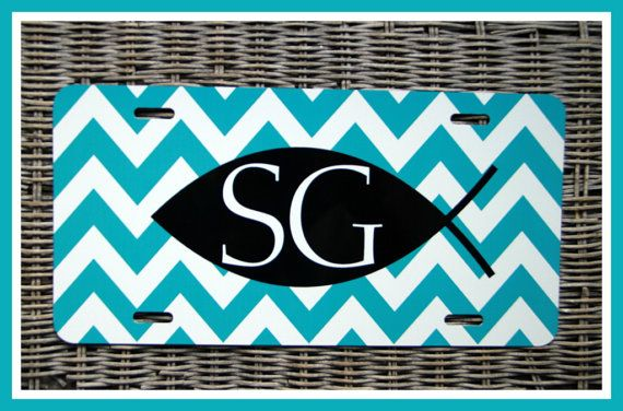 License Plate Monogrammed Gifts Christian Fish Monogram Car Accessories Personalized Car Tag Car Tags Chevron Stripe License Plates on Etsy, $25.00