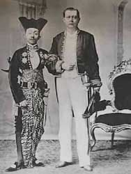 One of the Javanese sultans with the Dutch governor