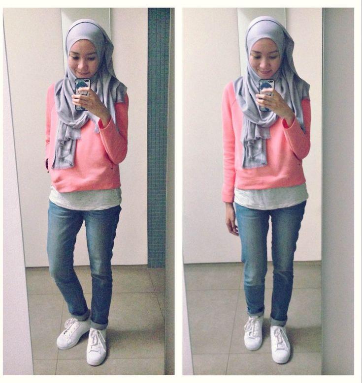 ootd. casual hijab outfit : Uniqlo Sweatshirt, H&M Tanktop, Uniqlo Jeans, Adidas Superstar sneakers   Syaifiena W lookbook.nu/syaifiena