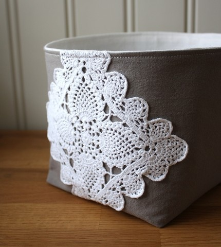 linen and lace fabric basket: so lovely to corral things