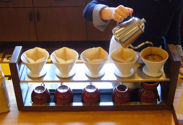 Pour over coffee bar - great idea. Prevents bulk brewed coffee from being wasted and your cup of joe is always fresh!!