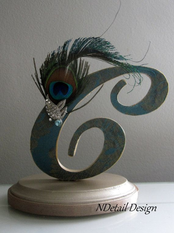 Art Deco Monogram Cake Topper : Art Deco Wedding Cake Topper, Feather Cake Topper, Peacock ...