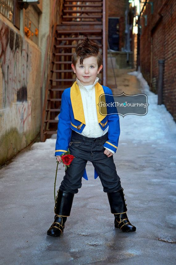 Beasty Boy Beauty and The Beast - veste de smoking bleu w / queues - princesse Belle Birthday Party - garçon Prince Adam - Halloween habit d...