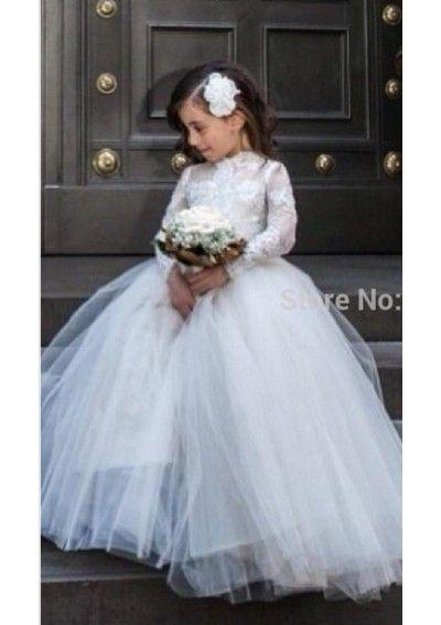 Wedding dress online shop - New Princess Floor Length High Neck Illusion Long Sleeves Children Flower Girls Dresses