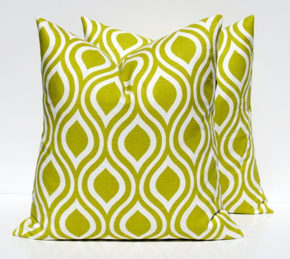 Green Pillow Cover Lime Green Pillow Throw Pillow Covers 20x20  TWO Geometric Morrocan Pillow Green Decorative Pillow Printfabric both sides
