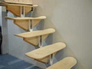 Skateboards. Would be really cute going up to a loft in the boys room.