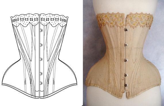 Ref Y pattern drafted from antique early XXe century Edwardian corset 18 inches small waist size by Atelier Sylphe Corsets. This is a pattern taken from an antique corset (also pictured) from the corsetiere's collection. $36
