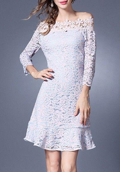 Light Blue-Purple Patchwork Lace Hollow-out Zipper Falbala Off Shoulder Mini Dress