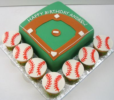 Really cute baseball cake/cupcakes! http://justcake.files.wordpress.com/2010/06/baseball_field_cupcakes.jpg