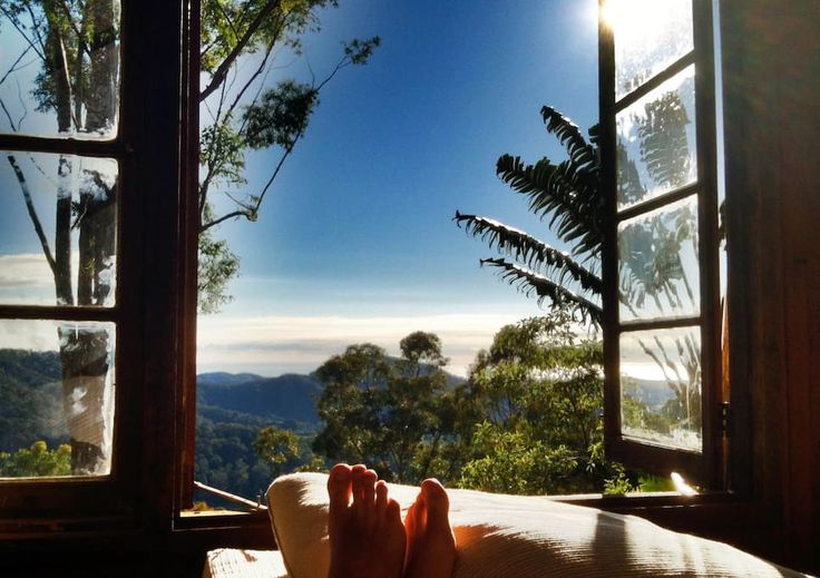 Treehouse in The Pocket, Australia. In the Byron Bay Hinterland, 20 minutes from the beach & Byron, wake up to the sunrise & views over the valley & the Pacific Ocean in the comfort of the Bay Room in the Den. This is a very unique & the ultimate mountain top jungle fantasy!!  Be su...