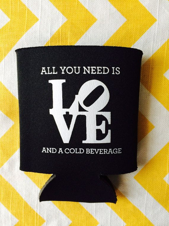 Philadelphia LOVE symbol Koozie, Philly LOVE wedding koozies, All you Need is Love koozies, wedding koozies (100 qty)