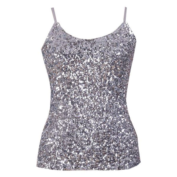 Sequin Solid Color Spaghetti Straps Tank Top (130 CAD) ❤ liked on Polyvore featuring tops, spaghetti strap tank, sequin tank, spaghetti strap top, sequin spaghetti strap top and sequin tanks