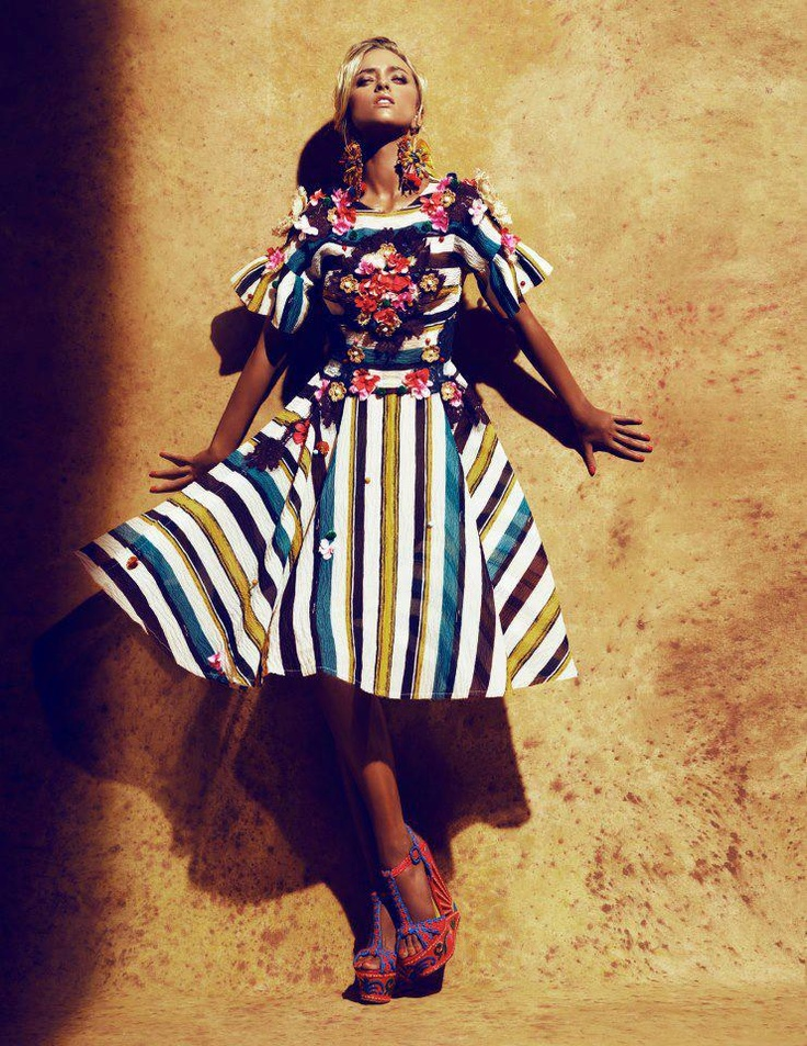 Marcelina Sowa in Dolce & Gabbana for a hot summer editorial by Toshio Onda