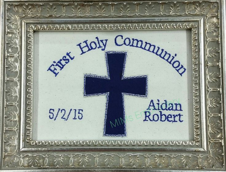 First Holy Communion framable art personalized embroidered gift memorabilia  by MIMsCustomEmbroidery on Etsy