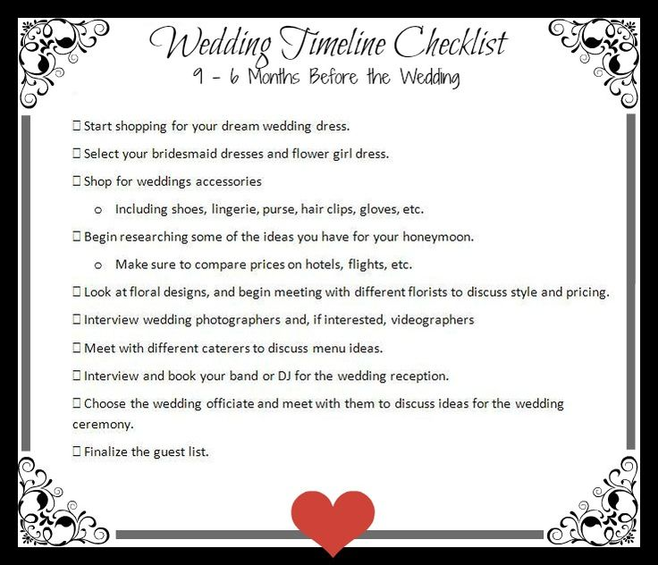 Print it out and start checking off tasks on our next Wedding Timeline Checklist, which includes things to do 9-6 months before the wedding.