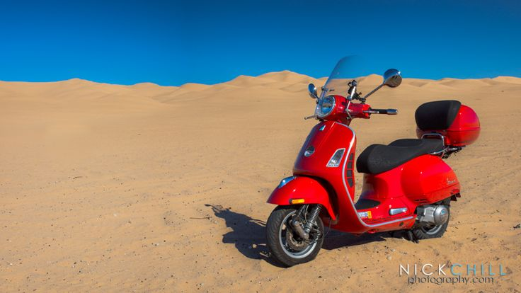 My Vespa GTS 250, posed at the sand dunes in Winterhaven, CA during a 331 mile round-trip one day ride from San Diego to Yuma. - by Nick Chill
