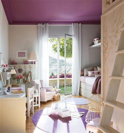 habitacion infantil con casita 2 Preciosa Habitación infantil en Malva y Piedra: