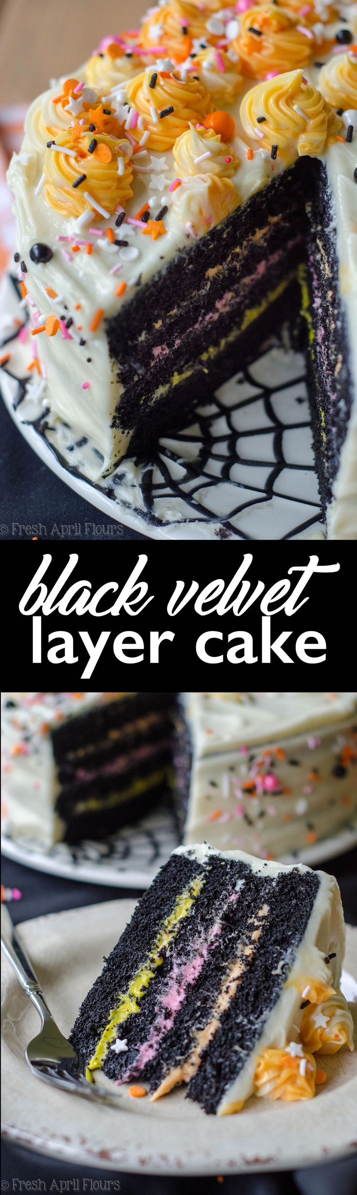 Black Velvet Layer Cake: Classic red velvet cake gets a spooky makeover in this black velvet edition perfect for Halloween! via @frshaprilflours
