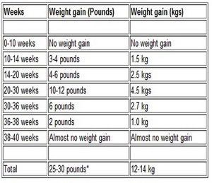 Image result for pregnancy months and weeks Expected Weight Gain