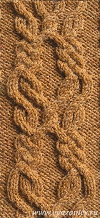 Ирландский из 6-ти жгутов - образец узора с перемещением петель, связанного спицами, лицевая сторона