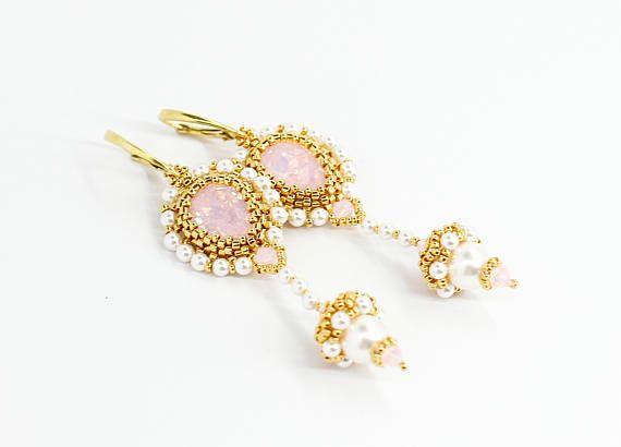 Bianco perla Orecchini goccia orecchini nappa orecchini orecchini di cristallo Swarovski Orecchini eleganti per regalo nuziale doccia orecchie sensibili per lei