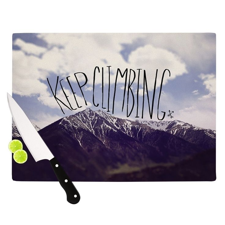 "Kess InHouse Leah Flores ""Keep Climbing"" Mountain Quote Cutting Board"
