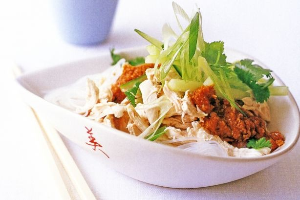 Set your chopsticks for this bowl of clear vermicelli noodles and shredded chicken with satay sauce.
