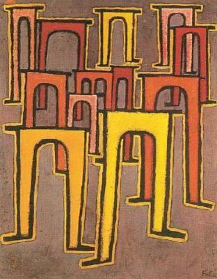 Paul Klee, Revolution des Viadukts, 1937 - Revolution des Viadukts, 1937, oil on oil grounding on cotton on stretcher frame, Hamburger Kunsthalle- Wikipedia, the free encyclopedia