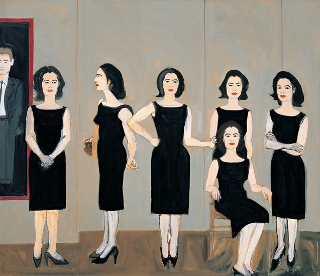 Alex Katz, The Black Dress - repeated painted figures