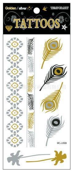 Флэш-тату металлического золота серебра временные татуировки пляж секс продукты бронзовый перо цепочка браслет дерево тела передача