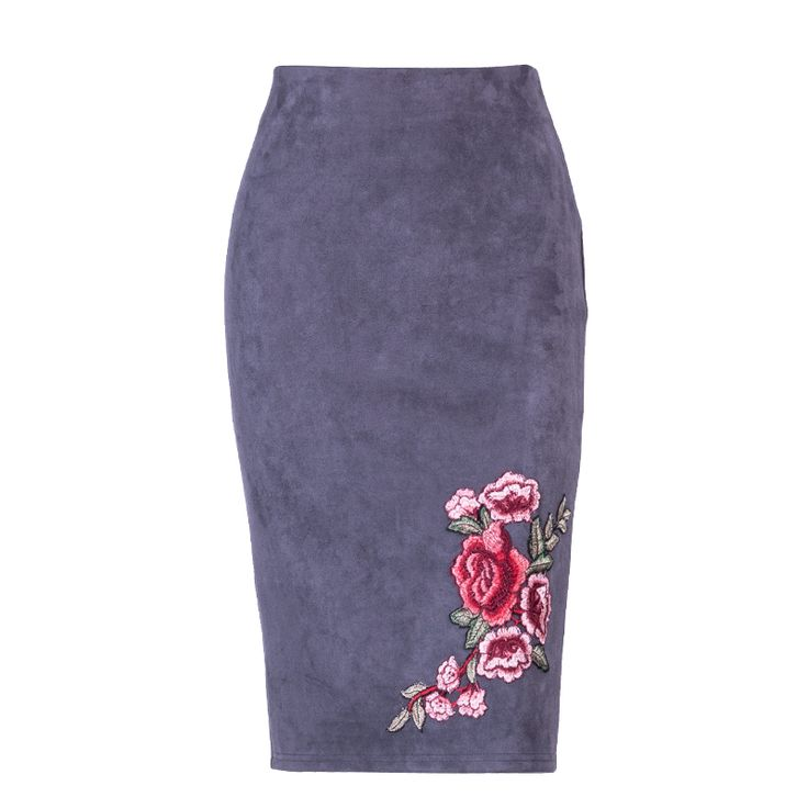 Floral Embroidery Gray Pencil Midi Skirt Fall Winter Stretch Bodycon Women Skirt (Copy)  Price: 24.95 & FREE Shipping  #hashtag3