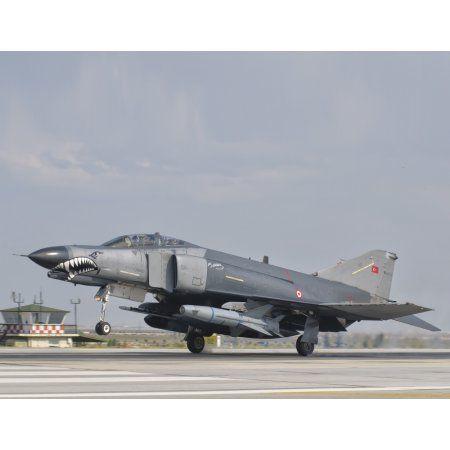 Turkish Air Force F-4 Phantom landing at Konya Air Base Canvas Art - Giovanni CollaStocktrek Images (32 x 25)