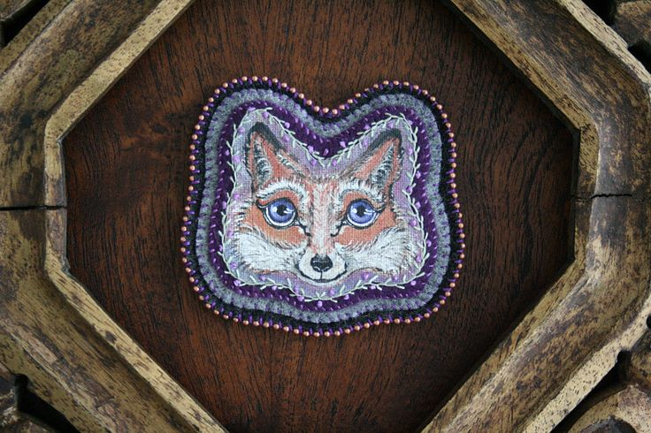 Amethyst The Fox - Embroidery - Textile Art - Modern Embroidery - Hand Painted - Original Art - Woodland - Hand Stitched by BlackCatCreativeStd on Etsy https://www.etsy.com/listing/167140986/amethyst-the-fox-embroidery-textile-art