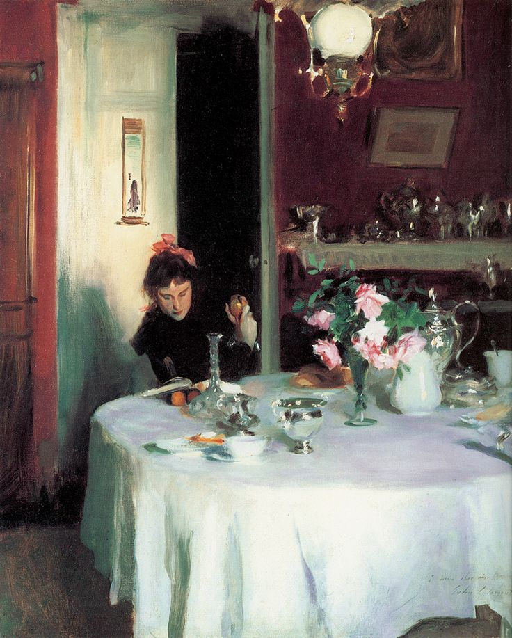 """""""The breakfast table"""", 1884, by John Singer Sargent"""