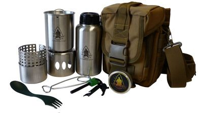 Pathfinder TRAIL PRO Cook Set - GEN3 Pathfinder Stainless Steel 32 oz. Bottle & Nesting Cup Set Stainless Steel Bottle Stove Pathfinder Alcohol Stove w/Regulator Bottle Hanger Glow in Dark - Ferrocerium Rod Can of Mini Inferno Plastic Spork MOLLE Shoulder Bag  SAVE BIG! $135 when sold separately!