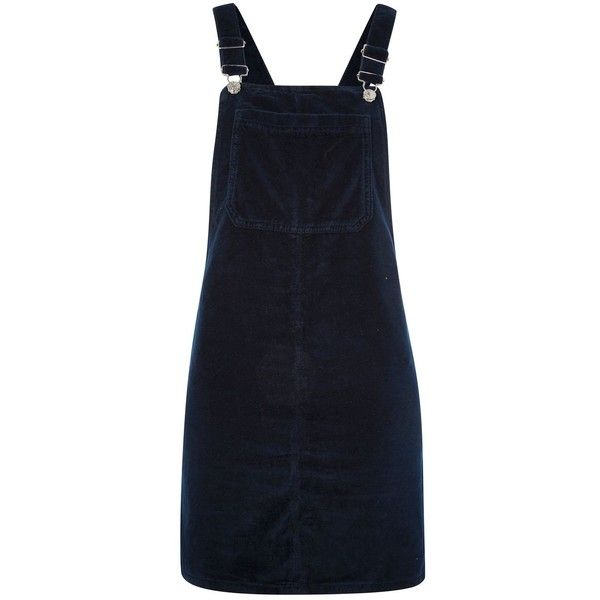 Topshop Moto Velvet Pinafore Dress (3,510 INR) ❤ liked on Polyvore featuring dresses, skirts, pinafore, topshop, navy blue, dungaree dresses, navy blue velvet dress, navy stripe dress, striped dress and navy dress
