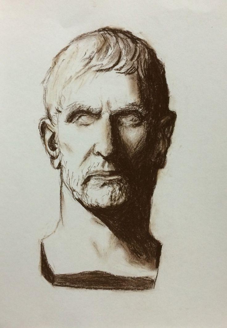 Greek plaster figure Portrait - Charcoal - Andrea Meyerholz