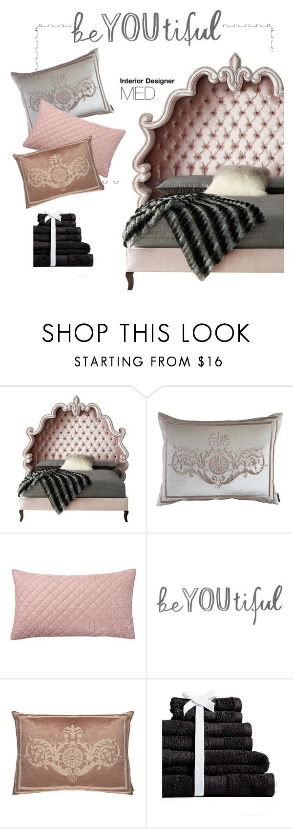 """""""Nude📎"""" by mayadh-alshehri ❤ liked on Polyvore featuring interior, interiors, interior design, home, home decor, interior decorating, Haute House, Lili Alessandra, Pottery Barn and Baltic Linen Company"""